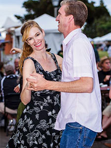 Photo of People Dancing to Zydeco Music at Gator by the Bay. The Best Cajun Zydeco and Blues Festival on the West Coast. Featuring top bands from around the country and from San Diego plus authentic Cajun Food and a 10,000 pound Crawfish Boil.